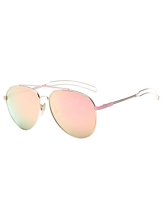 Travesaño ahueca hacia fuera de la pierna piloto gafas de sol de espejo - Rosa