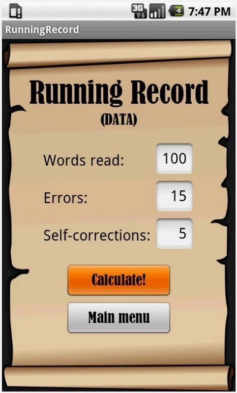 FREE RR Running Record app for ANDROID via Google Play. Wow! This will come in handy!!