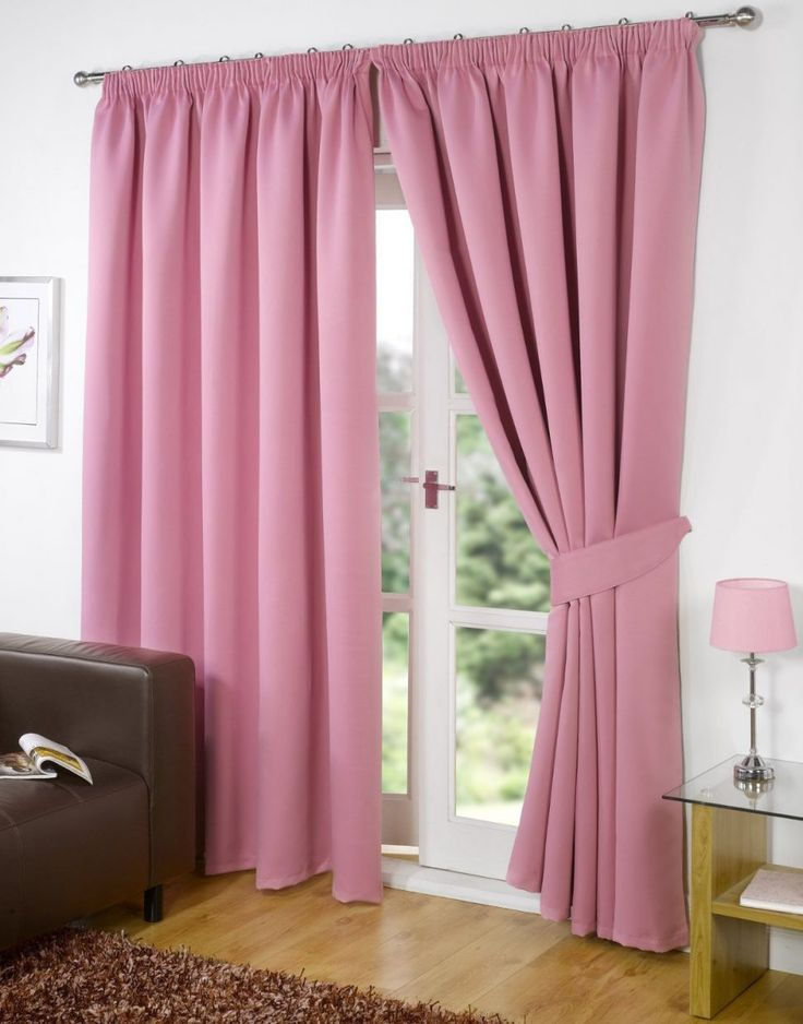 Living Room Curtains Ideas White Wall Pink Plain Vertical Curtain High Window Standing Lamp ...
