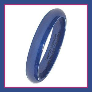 Blue Ceramic Ring by CERAMIC GESTALT These Womans Ceramic Wedding Rings are the original Ceramic Gestalt brand. It is made from High-Tech Ceramic and is Hypoallergenic. http://theceramicchefknives.com/womans-ceramic-wedding-rings/ Blue Ceramic Ring by CERAMIC GESTALT