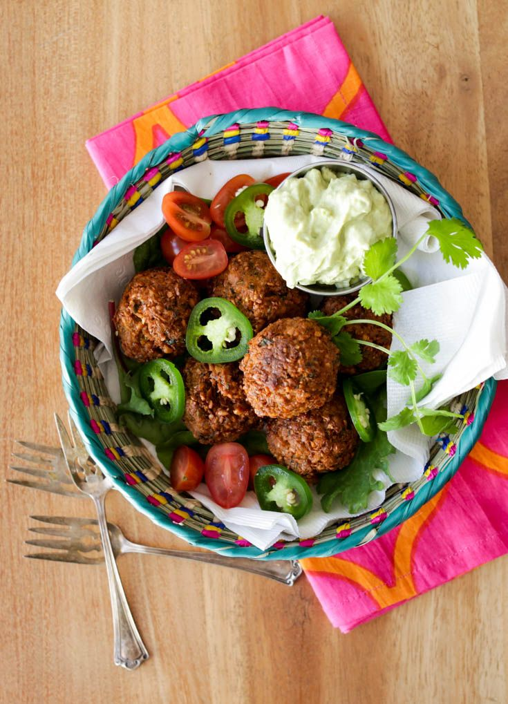 Spicy falafel with jalapeños and avocado-tahini sauce! These are real good, y'all (and vegetarian and vegan!)