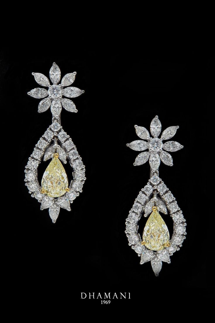 Brilliant yellow #diamond #earrings housed at #Dhamani1969 located at the Dubai Mall.