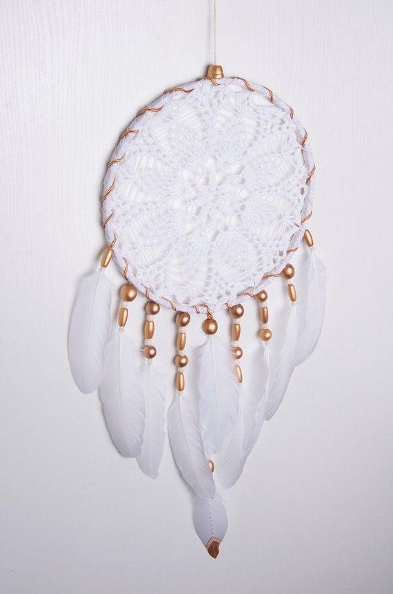 Crochet White Doily Large Gold Beads Dream Catcher White Wall Decor