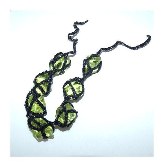 Green black silver crochet lace bracelet synthetic by MyLaceSpace, $27.00