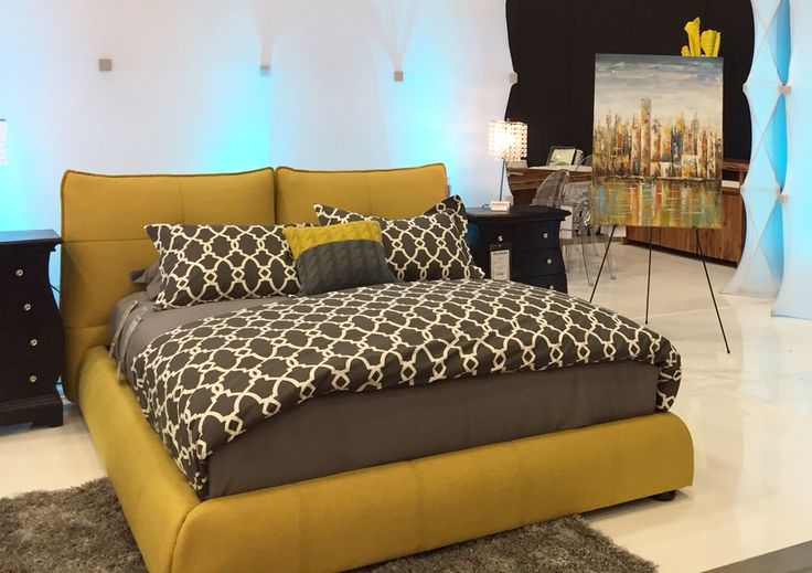 Wave Bed, Yellow fabric modern bed, Canada made.