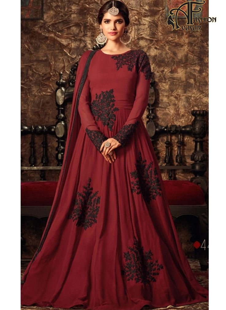 Maroon Georgette Anarkali Salwar Kameez. Maroon Color Georgette Charming Salwar Kameez in Anarkali Style. Ethnic Dress Online Shopping In India Low Prices.