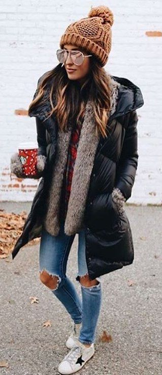 #winter #fashion /  Brown Beanie + Black Puff Jacket