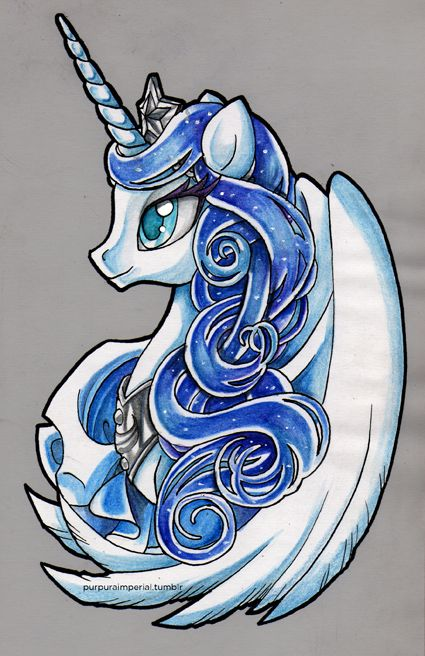 Princess Luna. Watercolor & Ink version, in no purple colors.