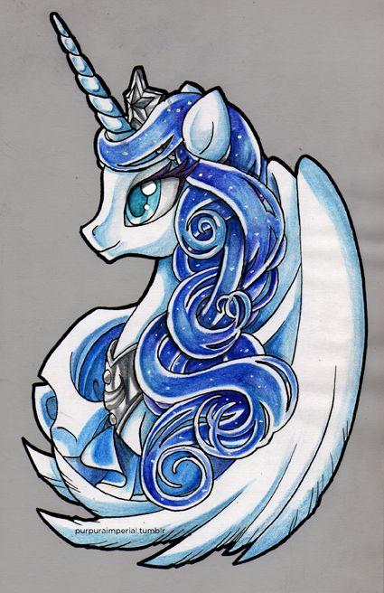 Princess Luna. Watercolor & Ink version, in no purple colors.                                                                                                                                                                                 More