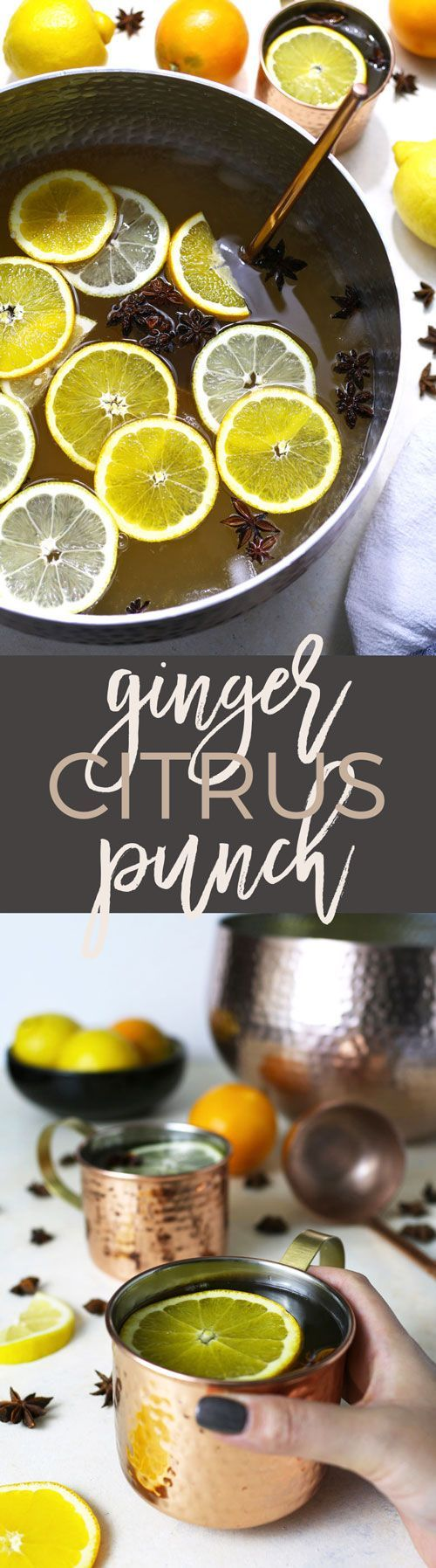 This ginger citrus punch recipe is VERY easy to make and it's perfect for all parties! Whether it's Christmas, New Year's Eve, weddings or a birthday party, this is going to be your new go-to big batch cocktail.