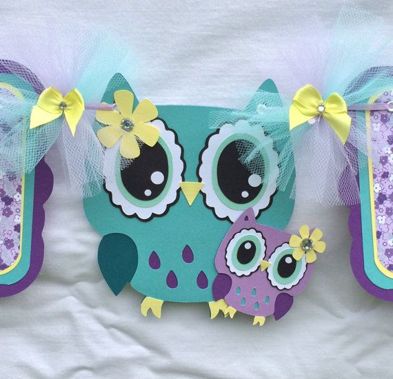 Owl banner, owl baby shower banner, mom and baby owl, etsy, handmade banner, nancysbannerboutique, yellow, teal, purple, lavender, it's a girl banner, photo prop