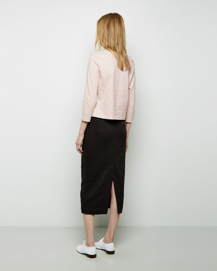 Apiece Apart / Cropped Three-Quarter Boatneck Tee, Apiece Apart / Vittoria Straight Skirt, Repetto / Zizi Oxford #ps15