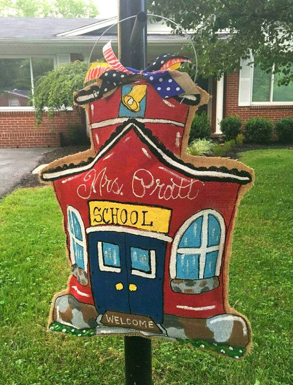 Burlap school house door hanger by NikkiDsCreations on Etsy