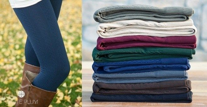 White Plum's Cable Knit Fleece Lined Leggings! 7 Colors Available!
