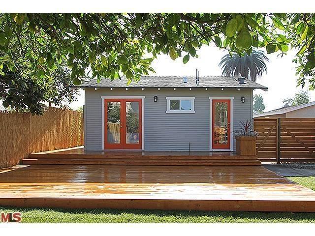 Backyard deck.