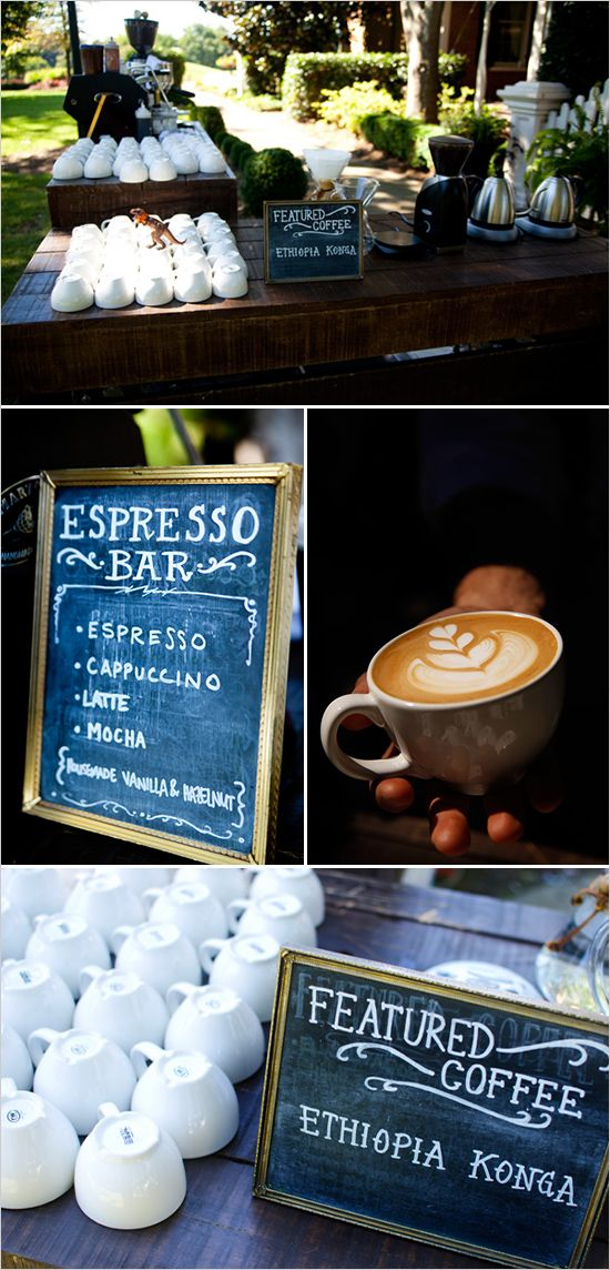 We <3 this idea! Espresso Bar At Your Wedding | Wedding Chicks //this is definitely gonna happen!