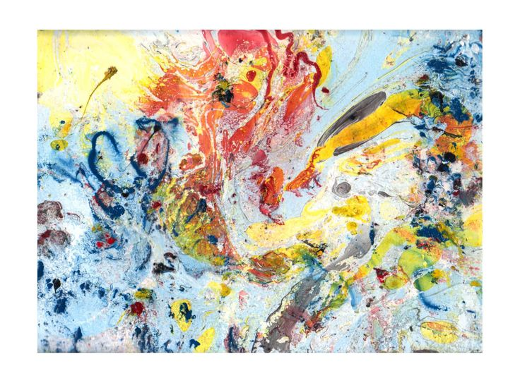 abstraktná maľba na papieri, vytvorená upravenou technikou maľby na vodnej hladine
