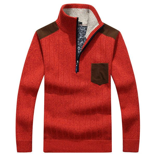 Casual Knitted Fleece Solid Color Thick Warm Stand Collar Slim Fit Sweater For Men