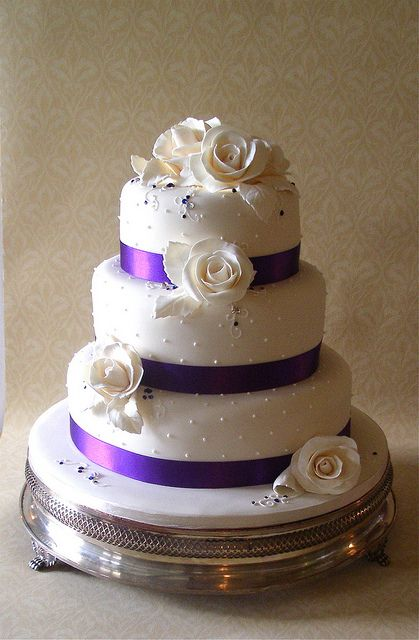 with different flowers  purple wedding cakes | Ivory & purple rose wedding cake | Flickr - Photo Sharing!