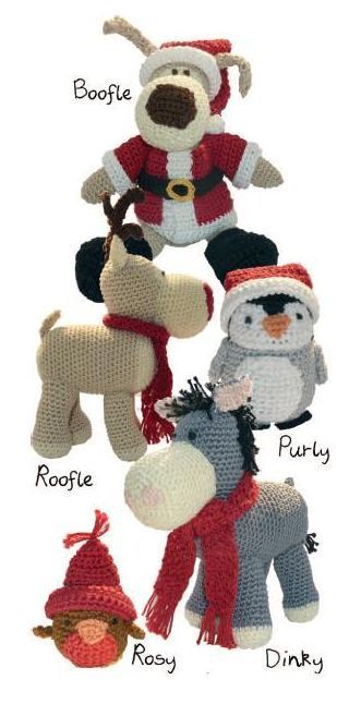 BOOFLE and Friends Christmas DMC Crochet Pattern Booklet 14941L 2. Boofle the dog. Roofle the reindeer. Purly the penguin. Dinky the donkey. Rosy the robin?.: Christmas Crochet, Boofle Mania, Christmas Decorations, Boofle Cuz, Boofle Bears, Amigurumi Robin, 2 Months Till Christmas, Crochet Pattern, Boofle ️