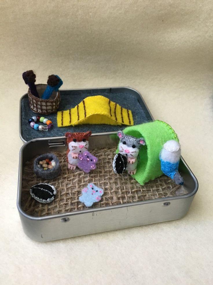 Itty Bitty Maties- Miniature felt hamster in a tin play set by MatiesMeadow on Etsy https://www.etsy.com/listing/235201666/itty-bitty-maties-miniature-felt-hamster