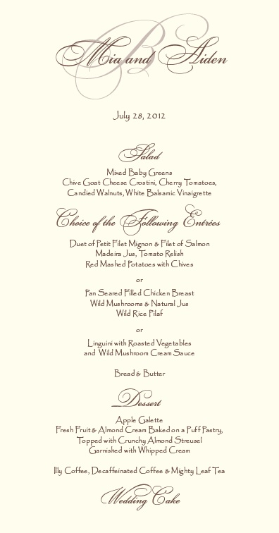 Wedding Reception Menu Card