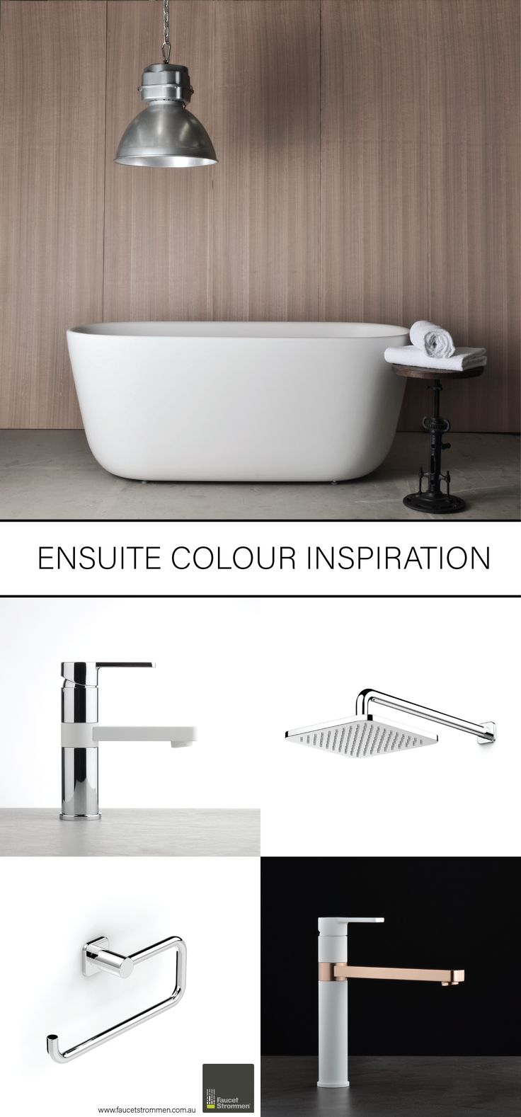 It's always a test to create the perfect ensuite if you have limited space. Make sure that every product works towards your colour scheme and overall style; one mismatched product can throw the whole look. That's why Faucet Strommen is offering colour combinations over a vast range of our products. View our finishes online at www.faucetstrommen.com.au #faucetstrommen