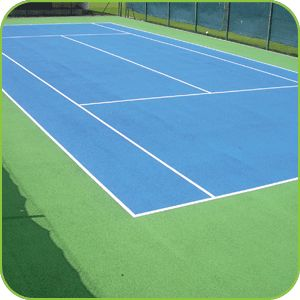 Artificial tennis court surfacing