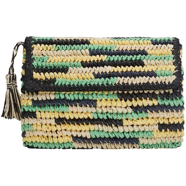 MANGO Straw Clutch ($30) ❤ liked on Polyvore featuring bags, handbags, clutches, straw clutches, tassel purse, tassel handbag, mango purse and mango handbags