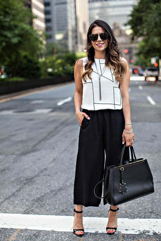 white top and black culottes