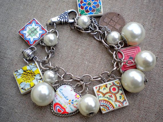 Portugal Antique Azulejo Tile Replica CHARM BRACLET with by Atrio,