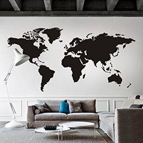 """Carte du monde sticker mural amovible en vinyle Motif carte carte Décoration Murale Carte du Monde Sticker mural Salon Art Decor, Vinyle, noir, 50""""hx100""""w"""