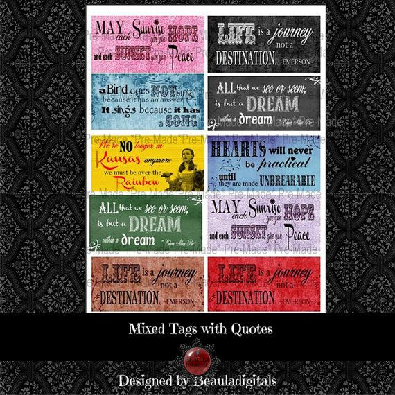 Mixed Tags with Quotes Digital Tags   Instant by Beauladigitals
