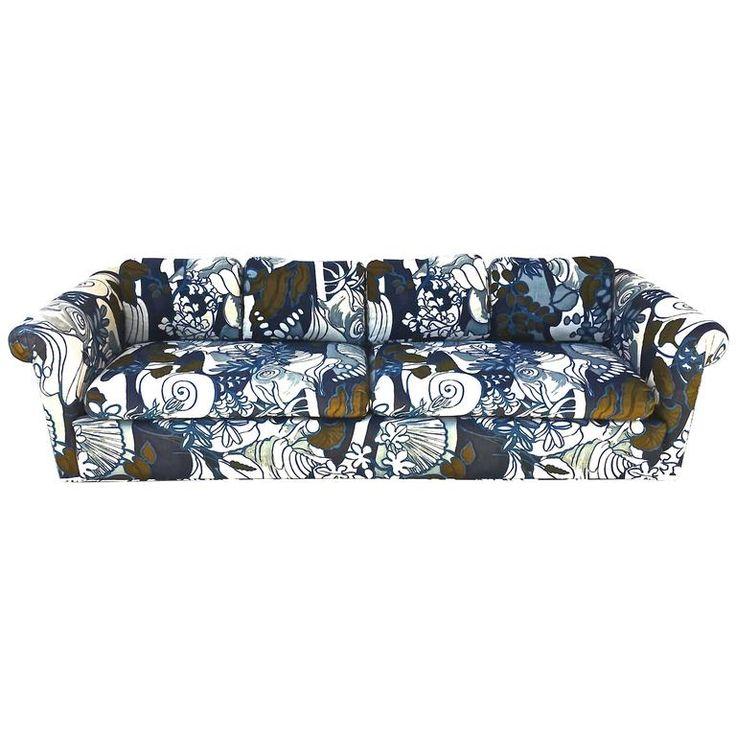 Edward Wormley for Dunbar Sofa with Custom Vintage Jack Lenor Larsen Fabric   1stdibs.com