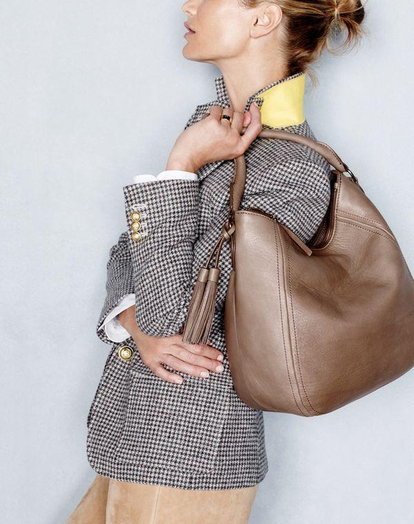 J.Crew women's Rhodes blazer in puppytooth, Thomas Mason® for J.Crew collarless tuxedo shirt, Love the bag and the houdstoth blazer