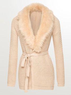 Ericdress Solid Color Faux Fur Collar Slim Knitwear