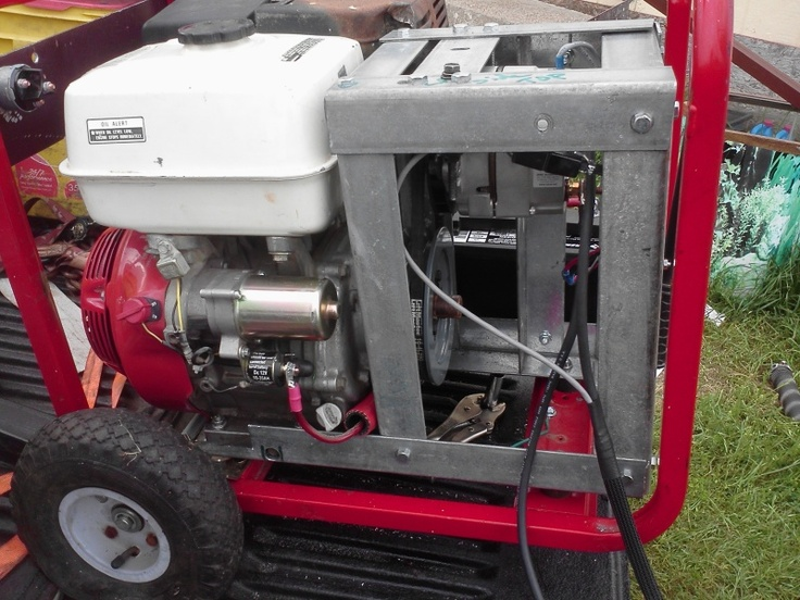 DIY Weldernator style welder.  An engine drives a modified car alternator to produce enough current to weld with.    Building portable welder - WeldingWeb™ - Welding forum for pros and enthusiasts