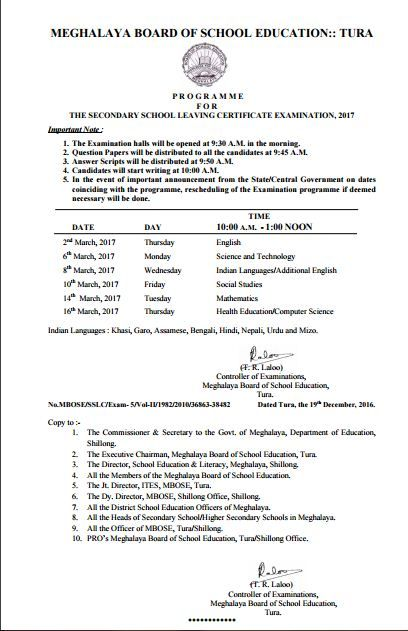 Meghalaya Board 10th Class Time Table 2017, MBOSE Board SSLC Exam Programme 2017 Download Meghalaya Board 10th Class Time Table 2017, MBOSE Board SSLC Exam Programme 2017 Download, Meghalaya 10th B…