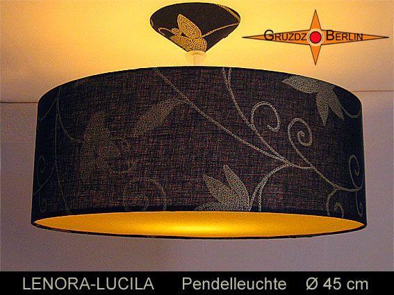 Leuchte LENORA-LUCILA, beleuchtet, Ø 45 cm, Pendellampe mit Diffusor und Baldachin, Leinen. Faszination pur - ein Lichtspiel aus schwarzem Leinen, sonnengelb und goldfarbenen Blüten.