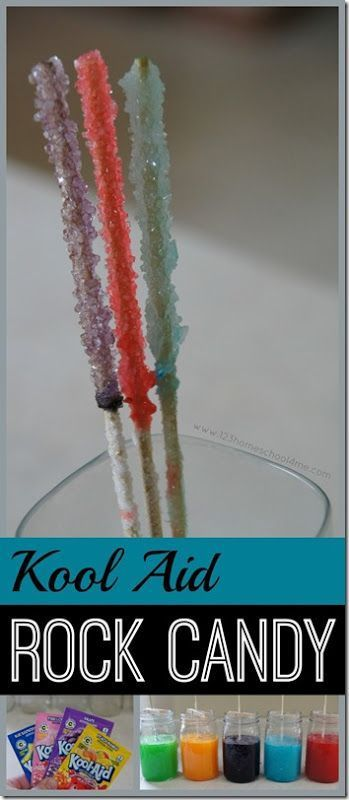 Kool Aid Rock Candy Science Experiment - love this twist using kool aid for some colorful yummy candy! This is a fun kids activities perfect to add to summer bucket list for kids from toddler, preschool, prek, kindergarten, first grade, second grade,third grade, fourth grade, fifth grade and more.