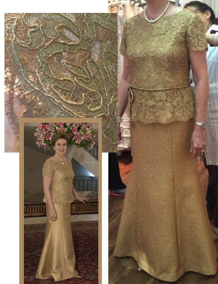 Saia e blusa dourada de renda, pintada à mão  Bodas Feito sob medida Ateliê Esther Bauman Acquastudio São Paulo SP