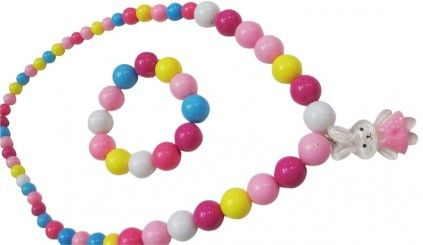 Buy online colorful pearl baby jewelry set consisting of a kitten pendant necklace set and matching bracelet.