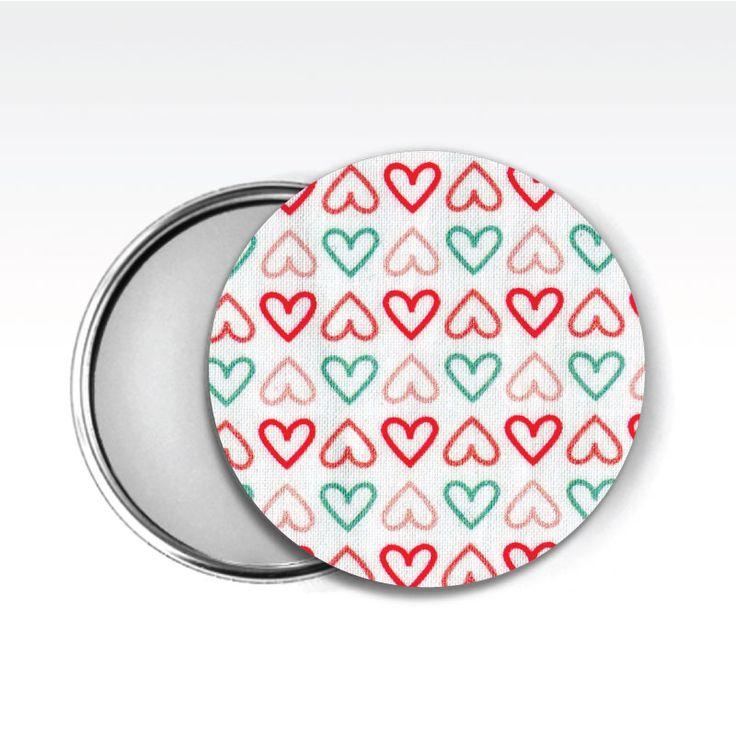 Zrcátko látkové www.udelejsiplacku.cz/eshop udělej si placku #placky #zrcátko #udelejsiplacku #badge #pin #hearts #mirror #fabric #látkové