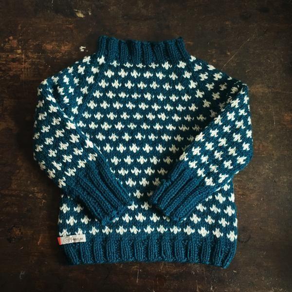 Hand-Knit Sweater Knud - Petrol/White - 1-10y