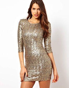 seriously glam. ASOS TFNC Sequin Body-Conscious Dress