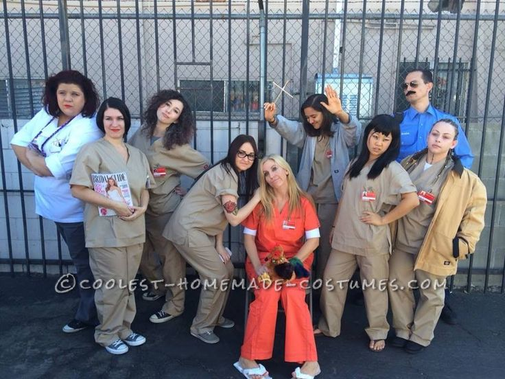 Cool group halloween costume idea orange is the new black for Group pics ideas