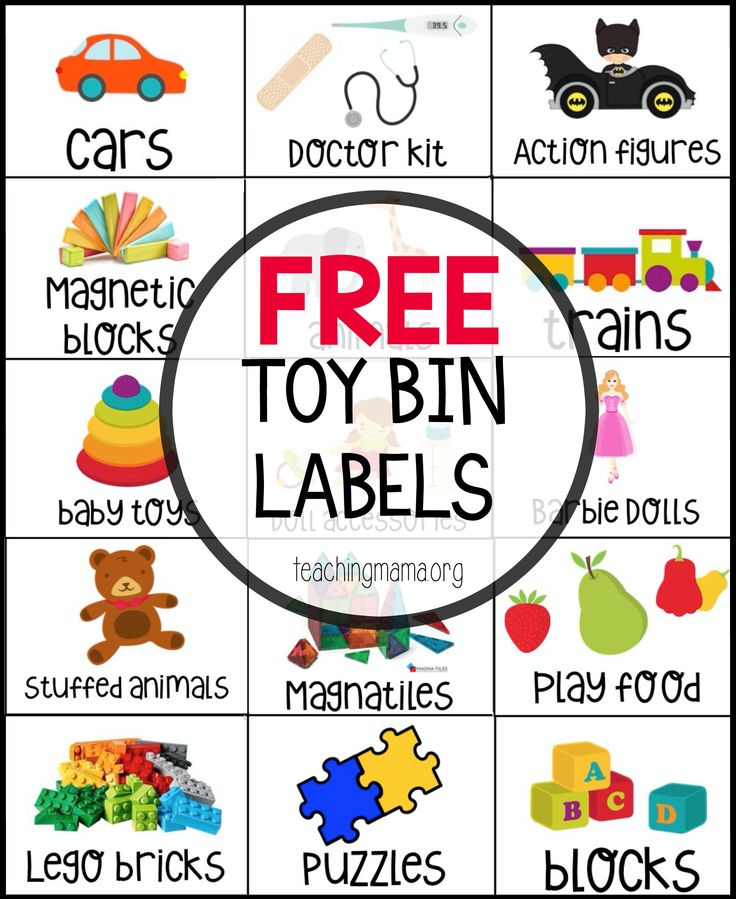 Free Toy Bin Labels - this is a great way to organize toys!