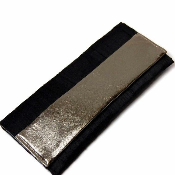 Shoply.com -The Marri Soiree Clutch in black silk and metallic silver leather. Only $60.00