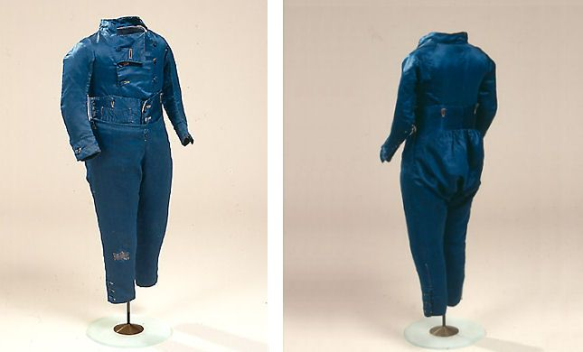 Boy's suit with long pants made of blue silk   1780's  Denmark