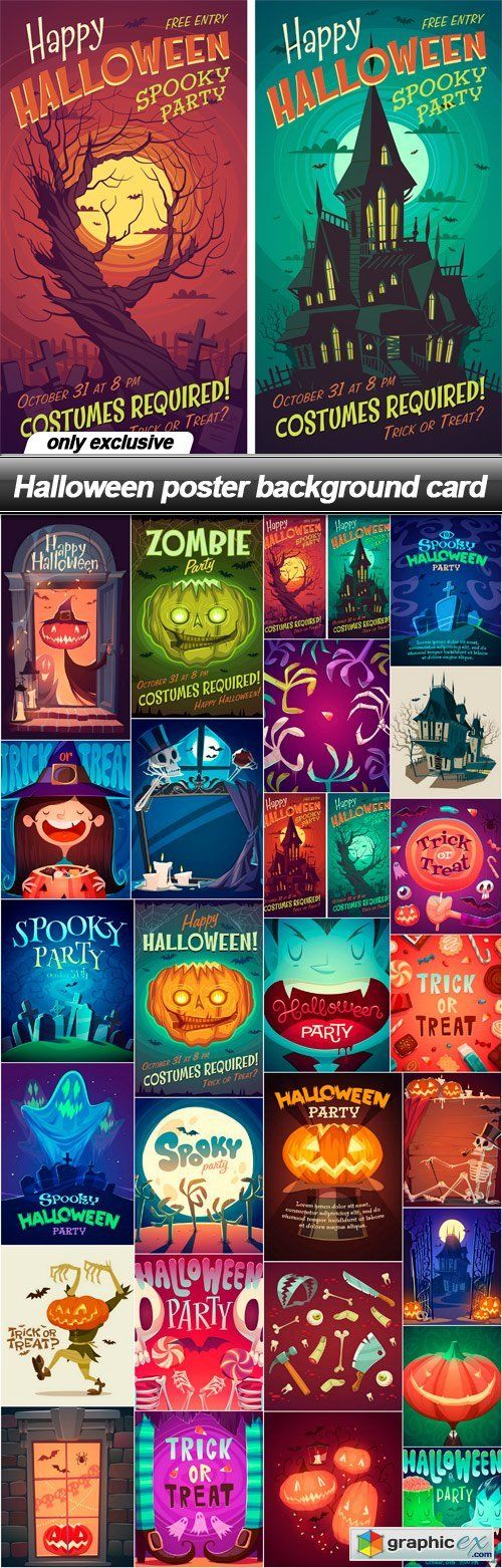 Halloween poster background card - 27 EPS
